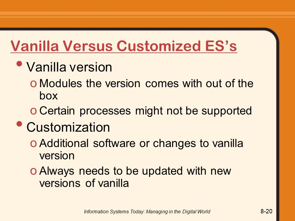 Vanilla Versus Customized ES's