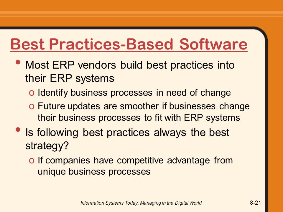 Best Practices-Based Software