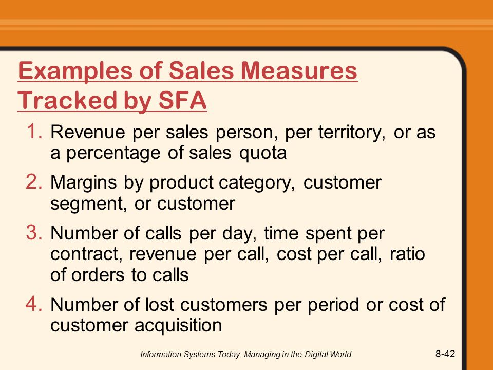 Examples of Sales Measures Tracked by SFA