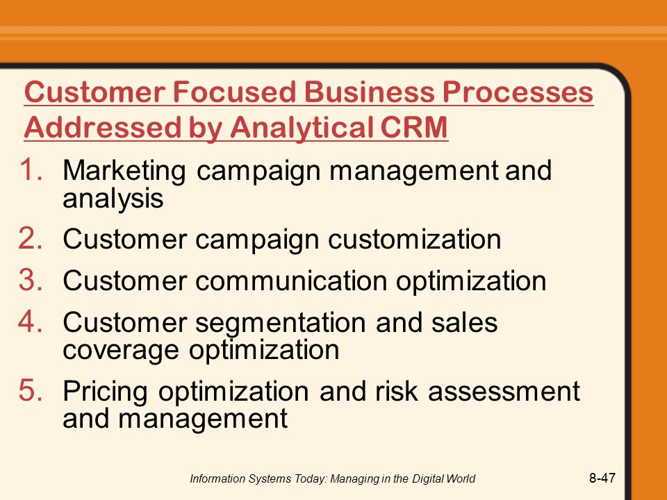 Customer Focused Business Processes Addressed by Analytical CRM