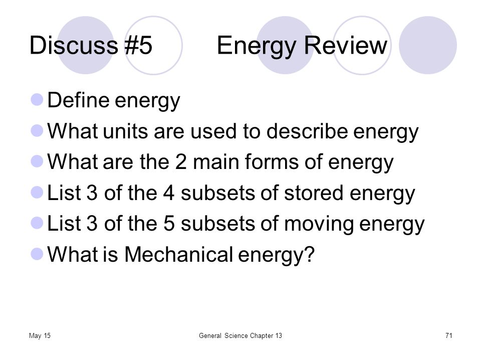 Discuss #5 Energy Review
