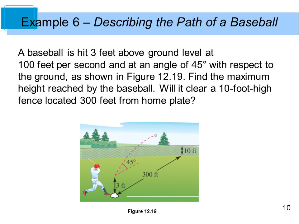 Example 6 – Describing the Path of a Baseball
