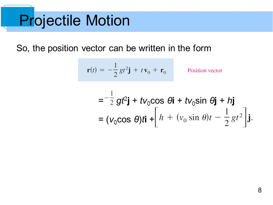 Projectile Motion So, the position vector can be written in the form