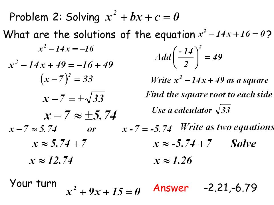 Problem 2: Solving What are the solutions of the equation Your turn. Answer.