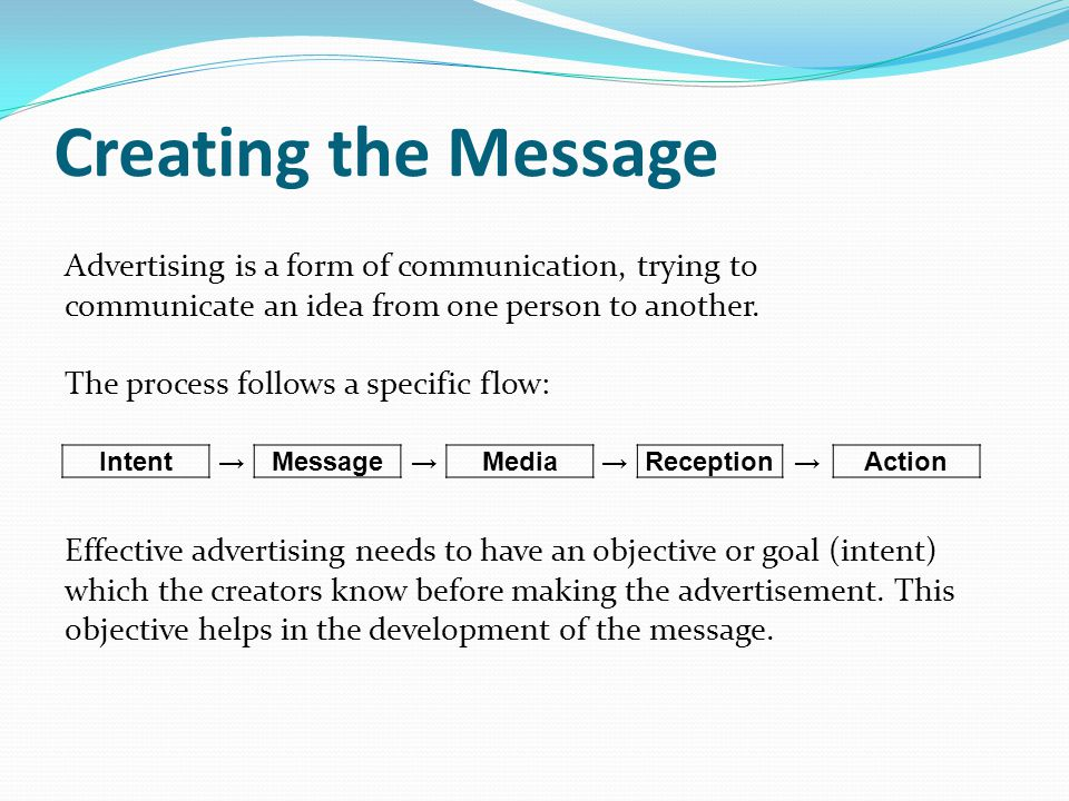 Creating the Message Advertising is a form of communication, trying to communicate an idea from one person to another.