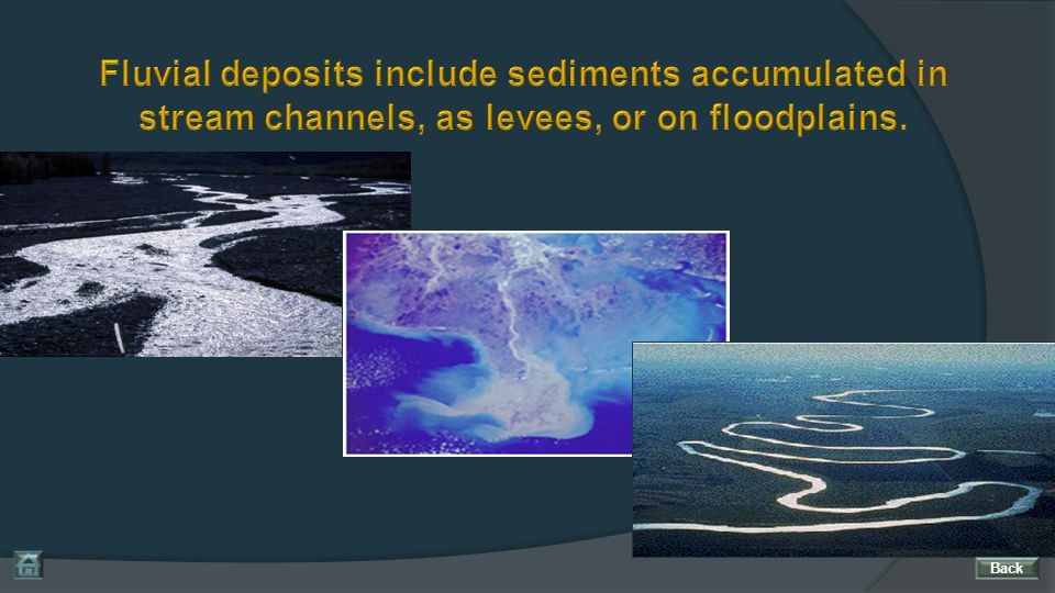 Fluvial deposits include sediments accumulated in