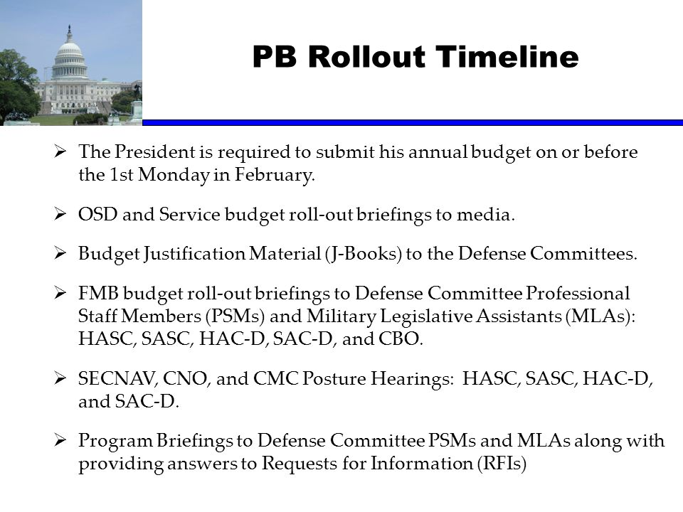 PB Rollout Timeline The President is required to submit his annual budget on or before the 1st Monday in February.