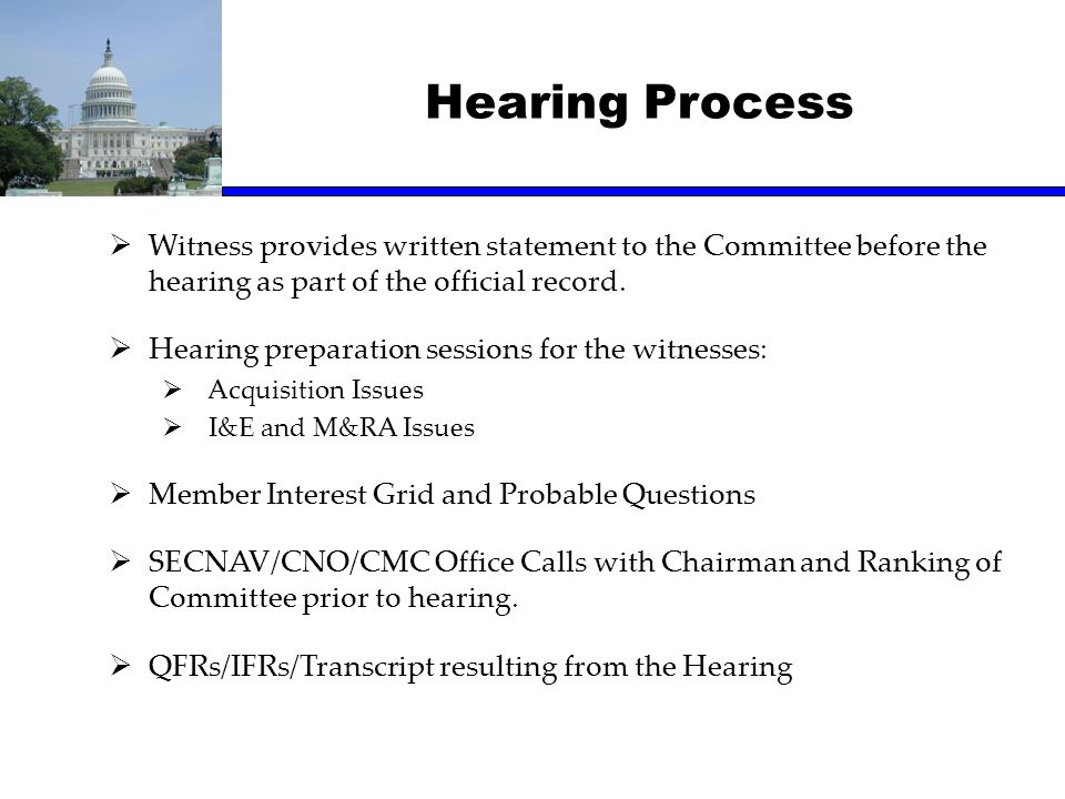 Hearing Process Witness provides written statement to the Committee before the hearing as part of the official record.