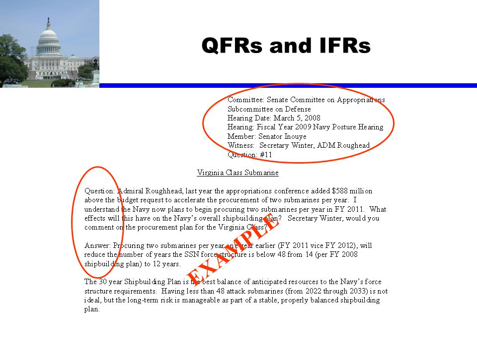 QFRs and IFRs EXAMPLE