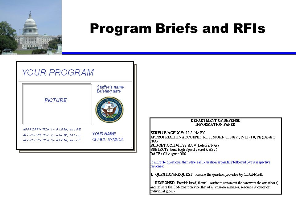 Program Briefs and RFIs