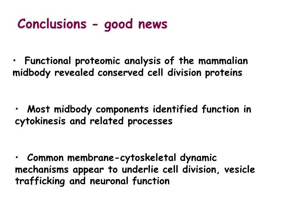 Conclusions - good news