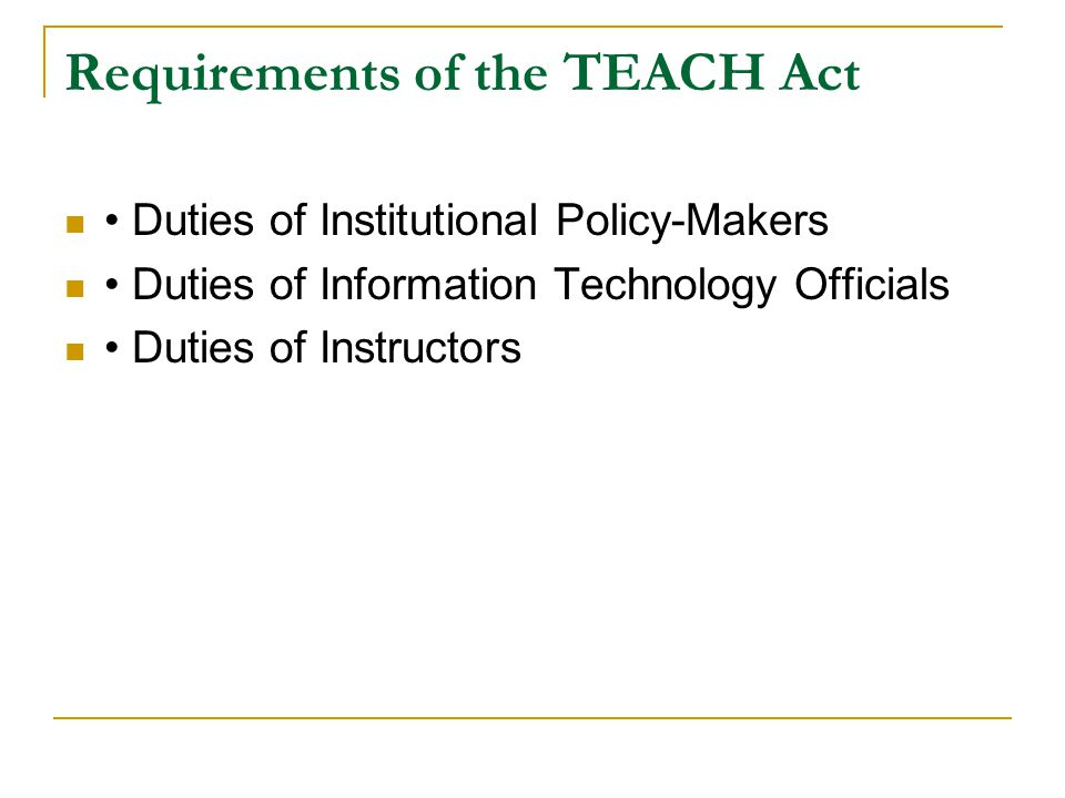 Requirements of the TEACH Act