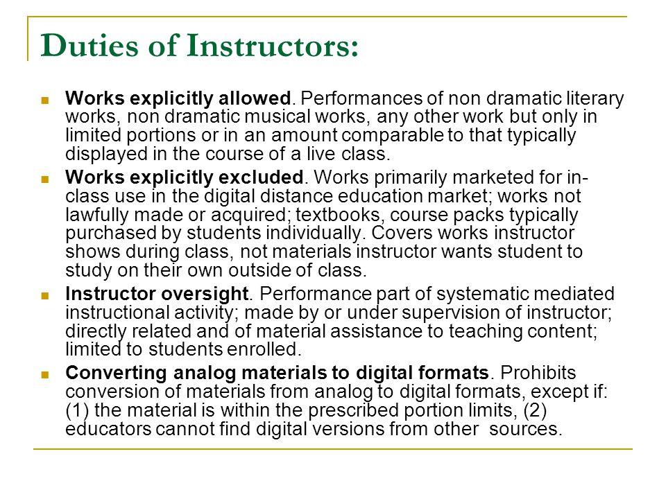 Duties of Instructors: