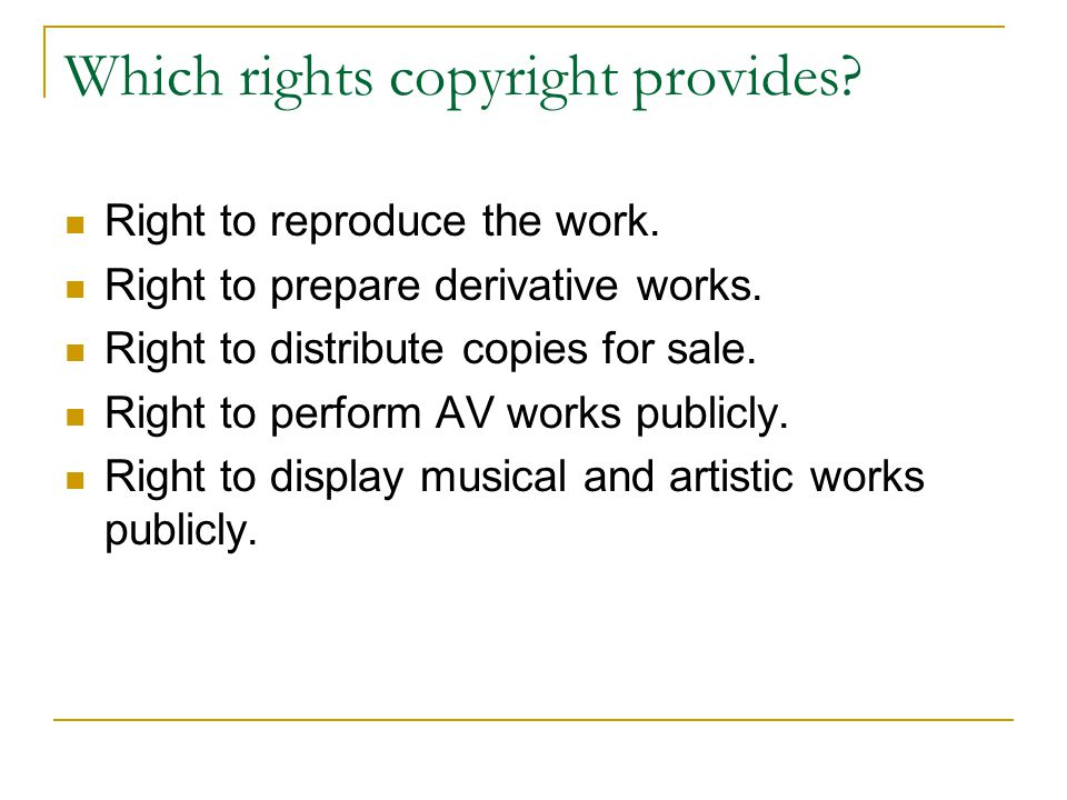 Which rights copyright provides