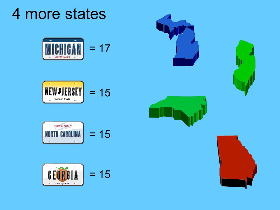 4 more states = 17 = 15 = 15 = 15