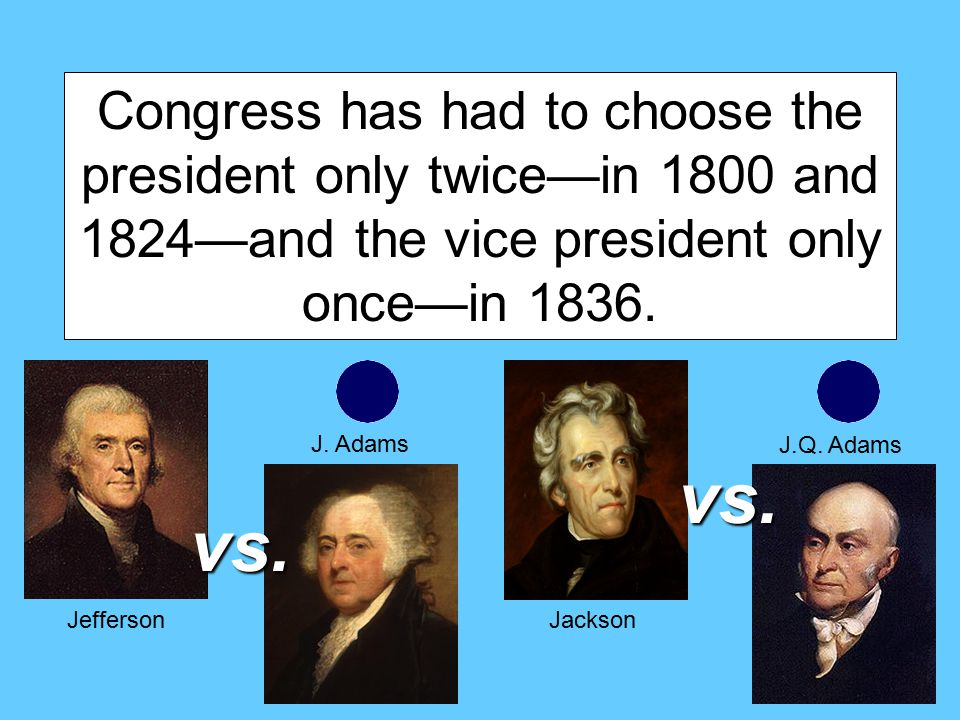 Congress has had to choose the president only twice—in 1800 and 1824—and the vice president only once—in 1836.