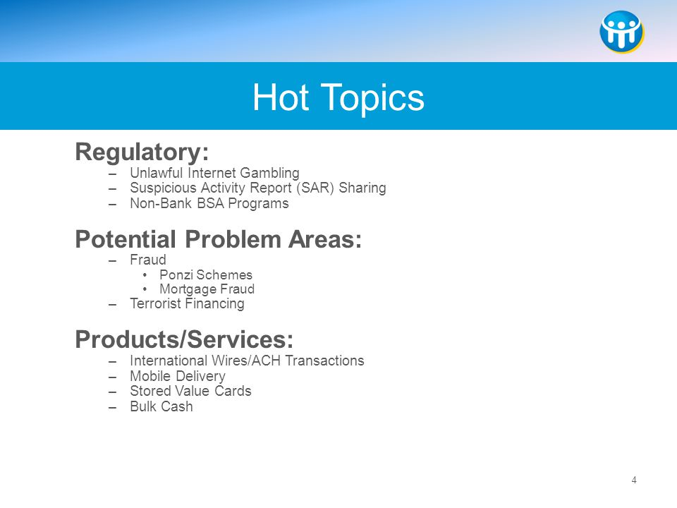 Hot Topics Regulatory: Potential Problem Areas: Products/Services:
