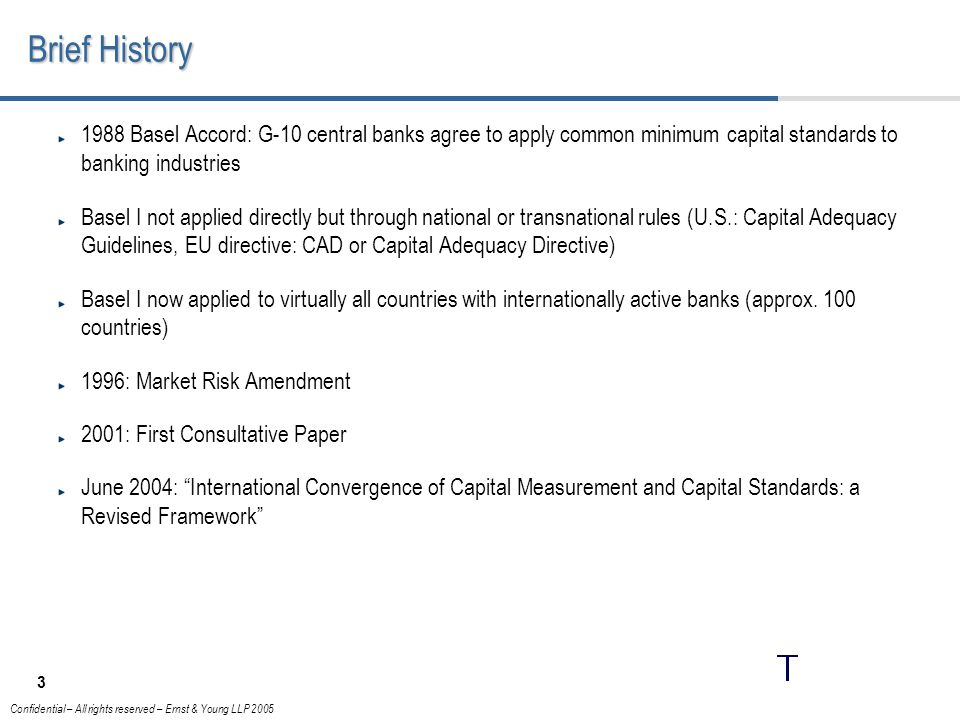 Brief History 1988 Basel Accord: G-10 central banks agree to apply common minimum capital standards to banking industries.