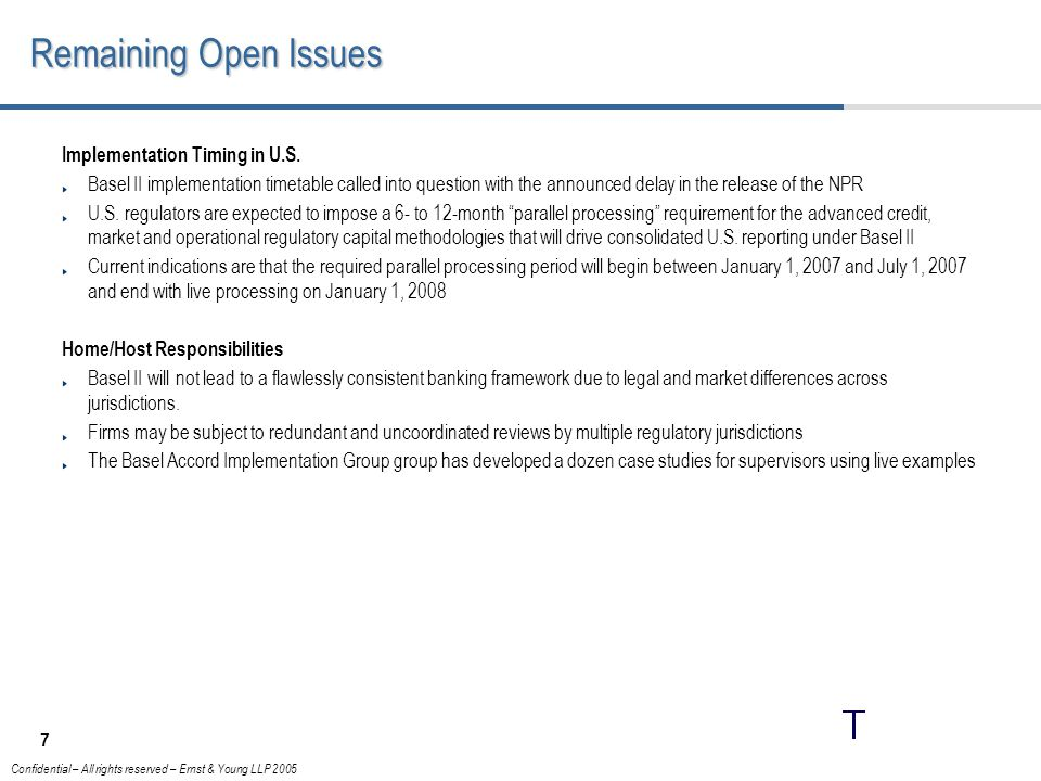 Remaining Open Issues Implementation Timing in U.S.