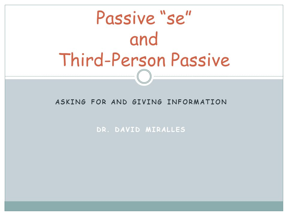 Passive se and Third-Person Passive