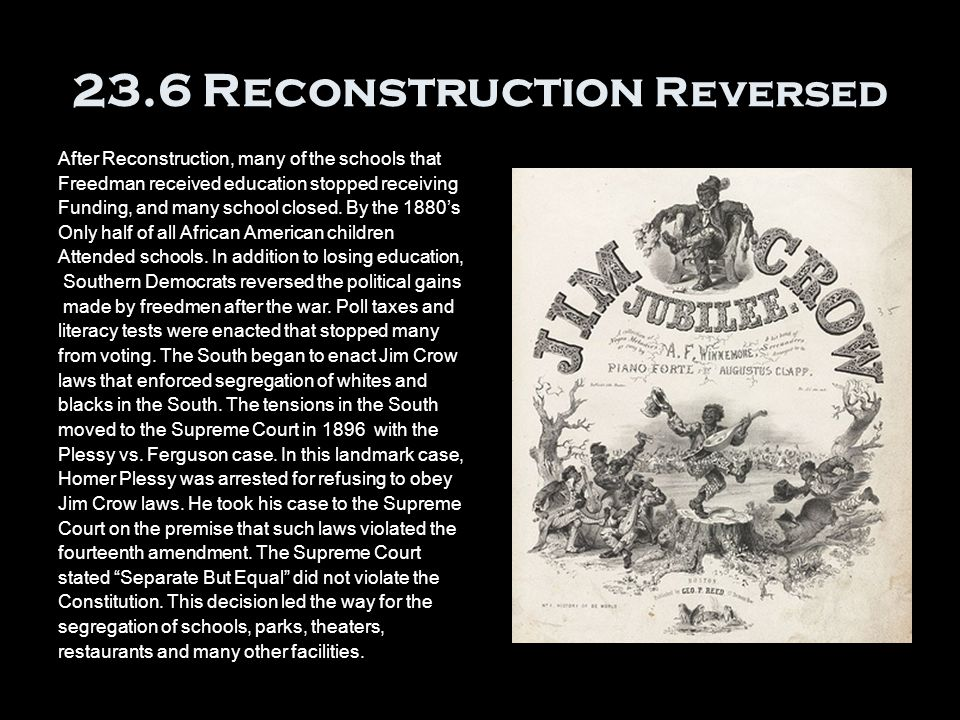 23.6 Reconstruction Reversed