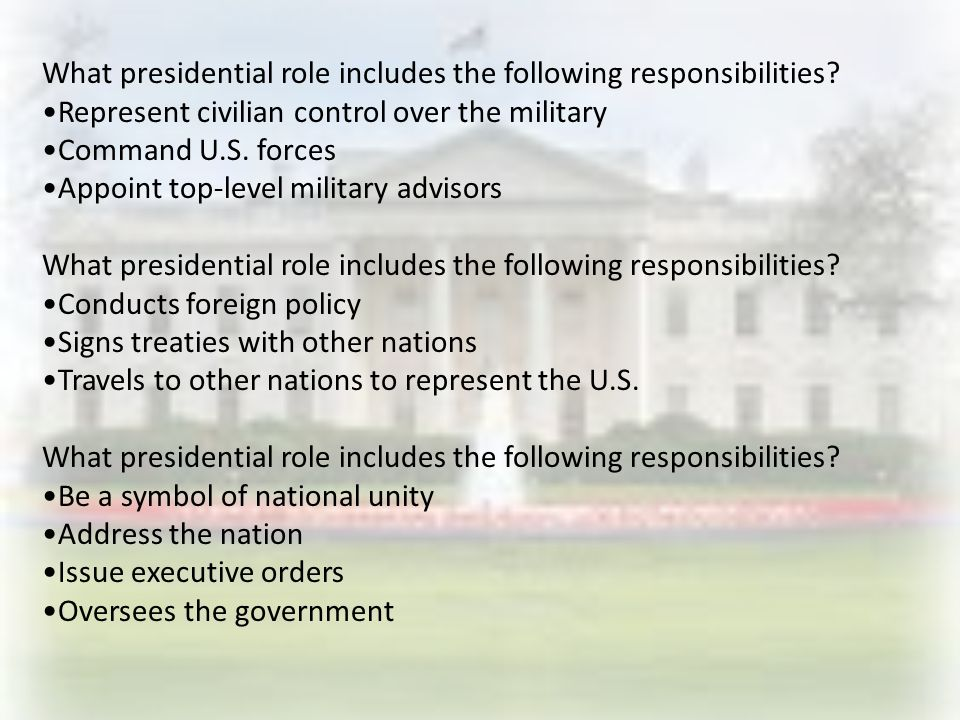 What presidential role includes the following responsibilities