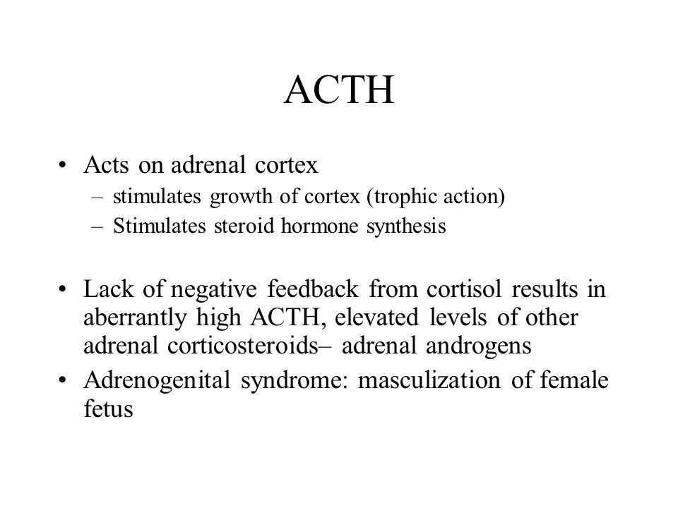 ACTH Acts on adrenal cortex