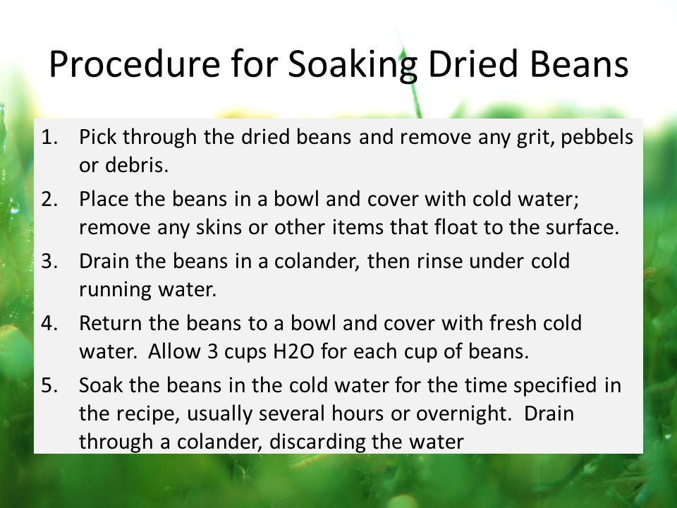 Procedure for Soaking Dried Beans