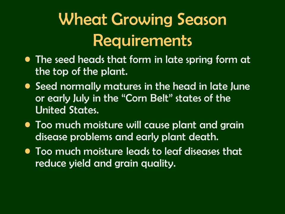 Wheat Growing Season Requirements