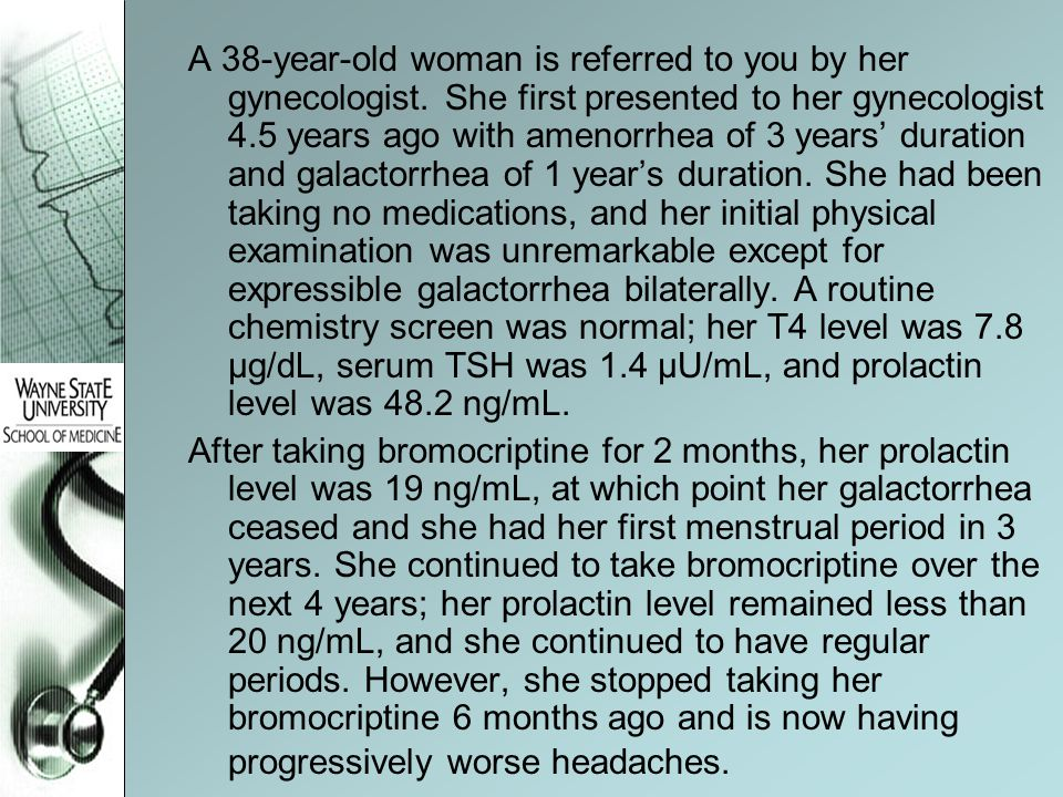 A 38-year-old woman is referred to you by her gynecologist