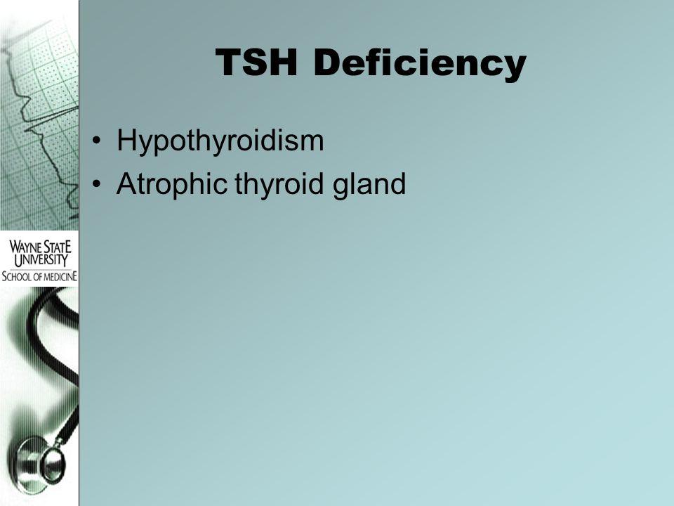TSH Deficiency Hypothyroidism Atrophic thyroid gland