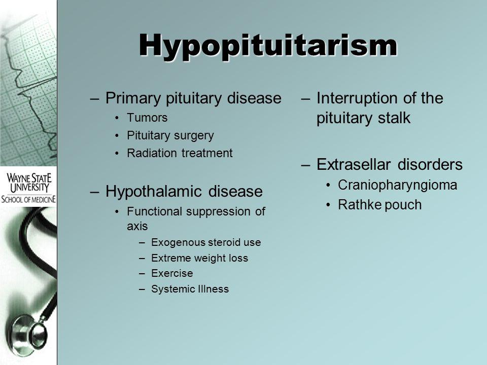 Hypopituitarism Primary pituitary disease Hypothalamic disease