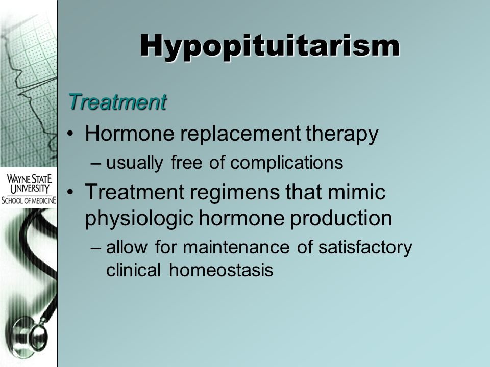 Hypopituitarism Treatment Hormone replacement therapy