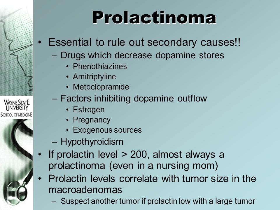 Prolactinoma Essential to rule out secondary causes!!