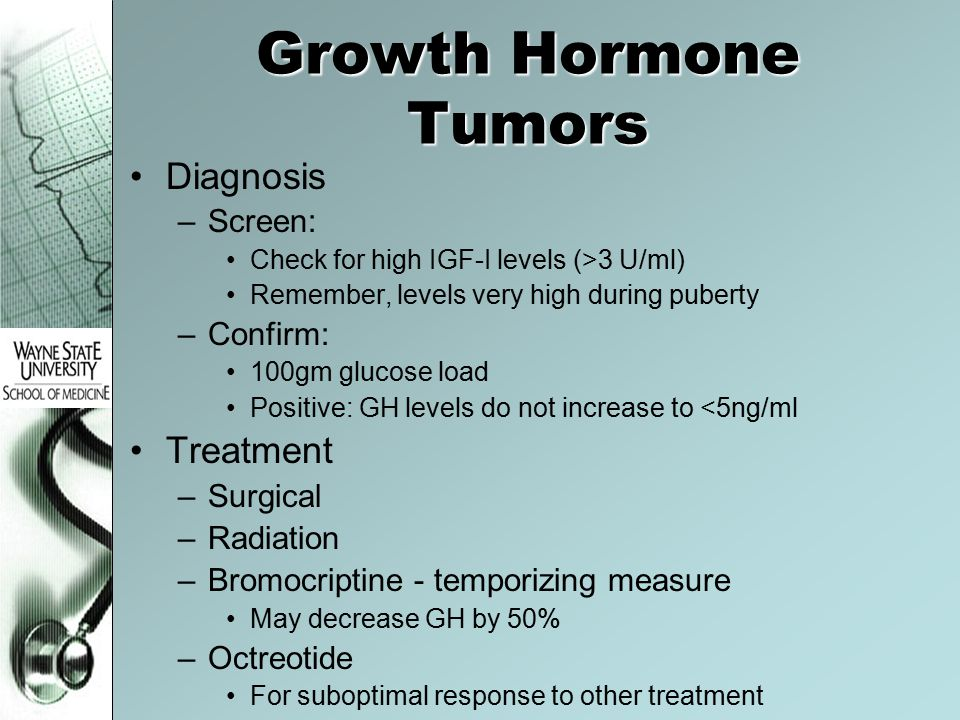 Growth Hormone Tumors Diagnosis Treatment Screen: Confirm: Surgical