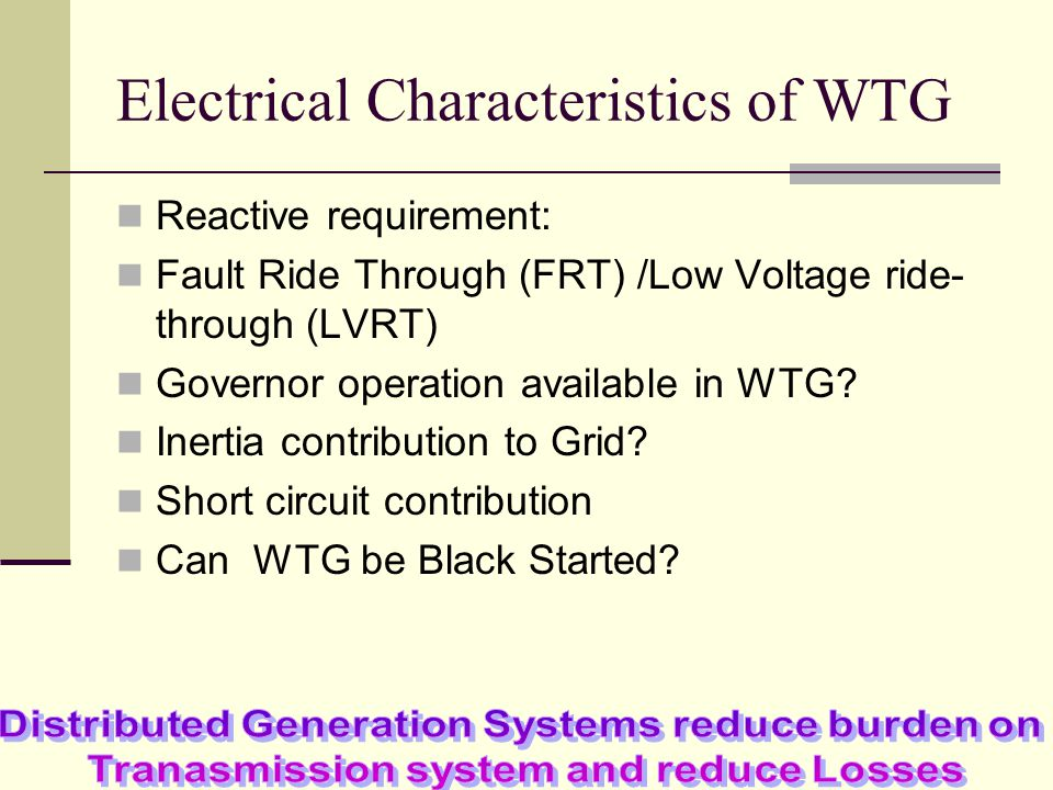 Electrical Characteristics of WTG