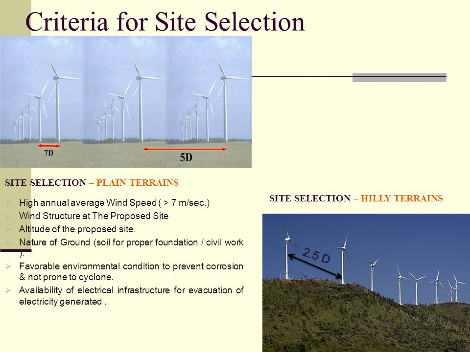 Criteria for Site Selection