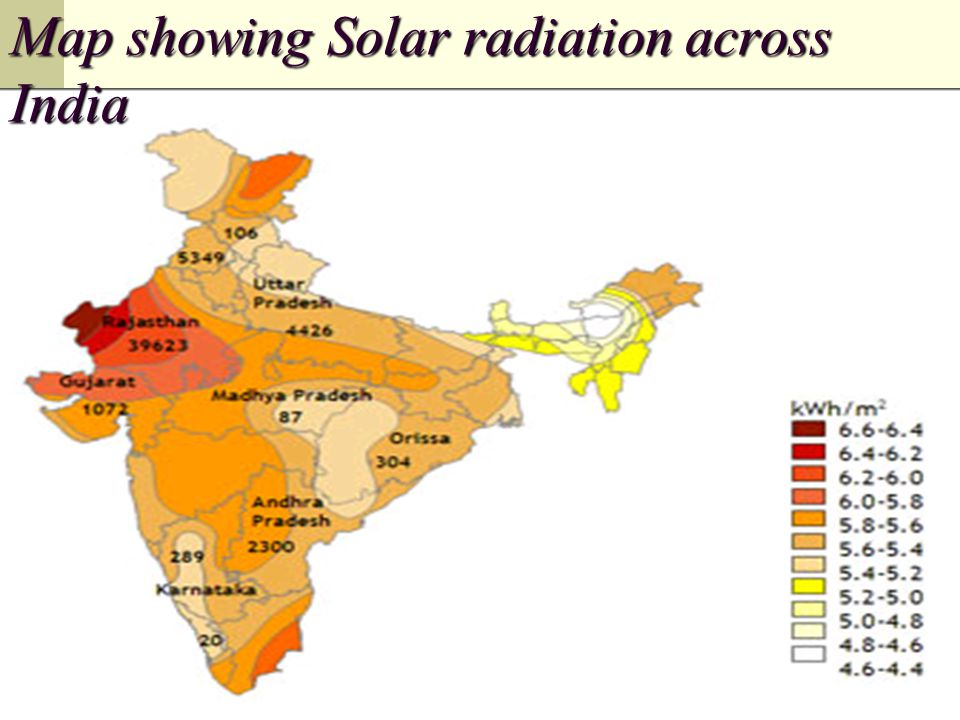 Map showing Solar radiation across India
