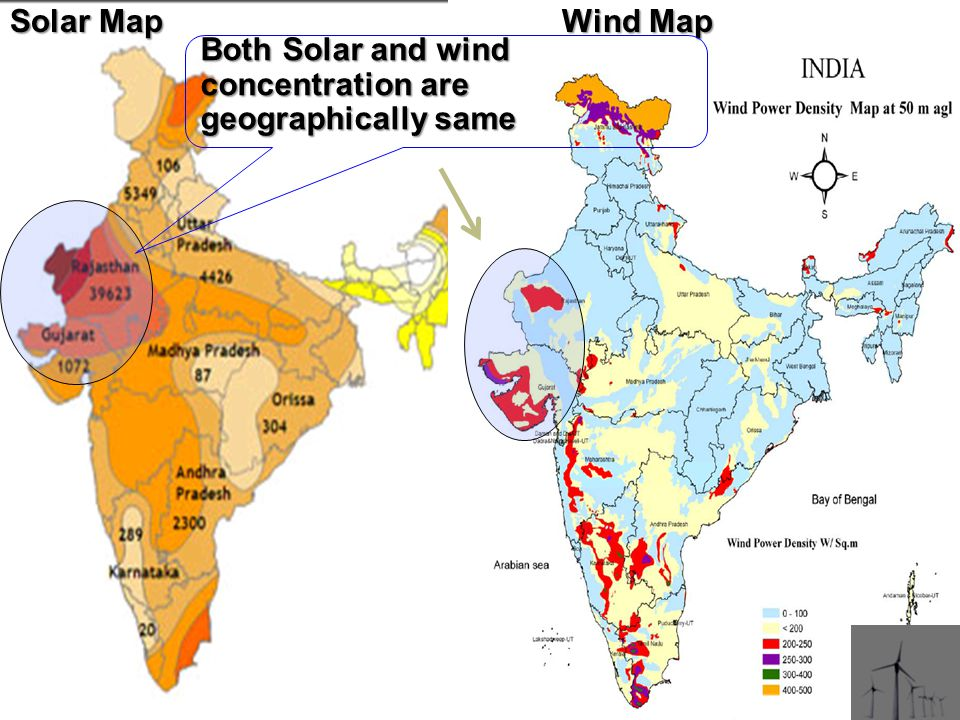 Both Solar and wind concentration are geographically same