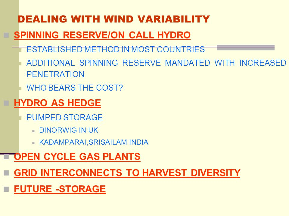 DEALING WITH WIND VARIABILITY