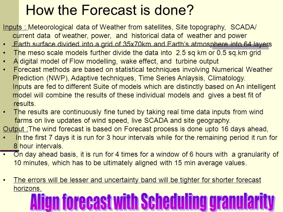 Align forecast with Scheduling granularity
