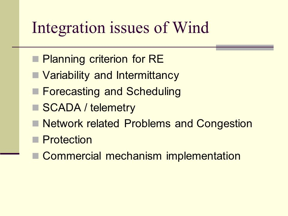 Integration issues of Wind