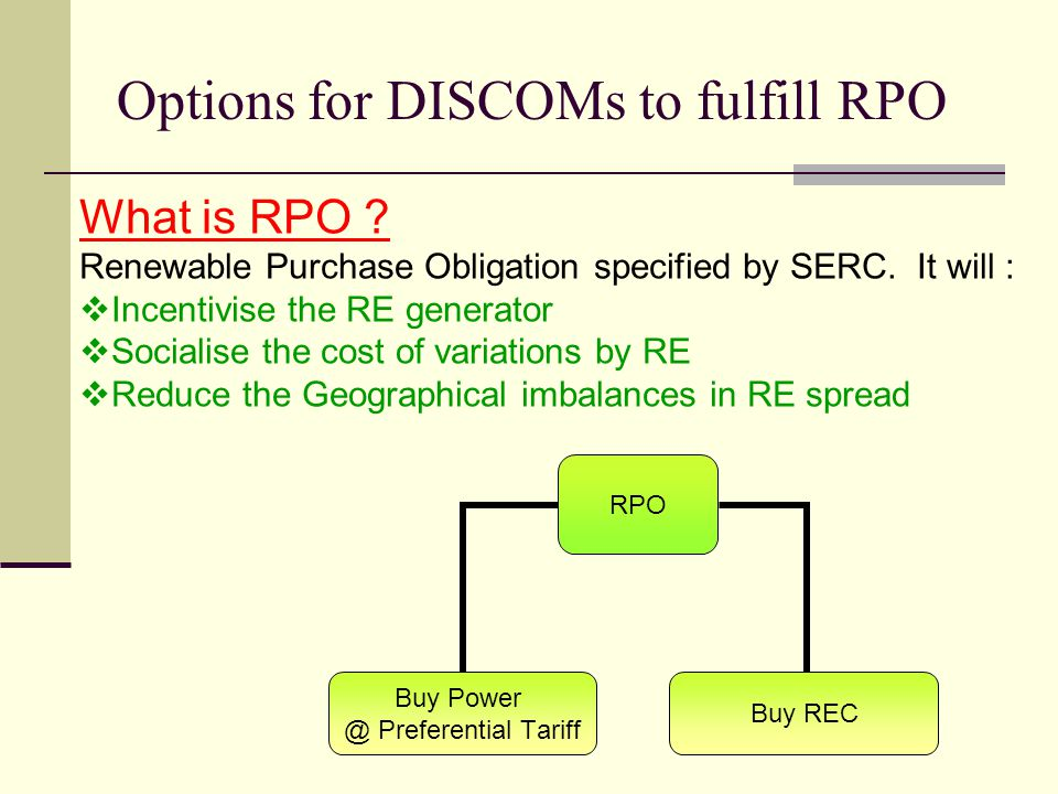 Options for DISCOMs to fulfill RPO