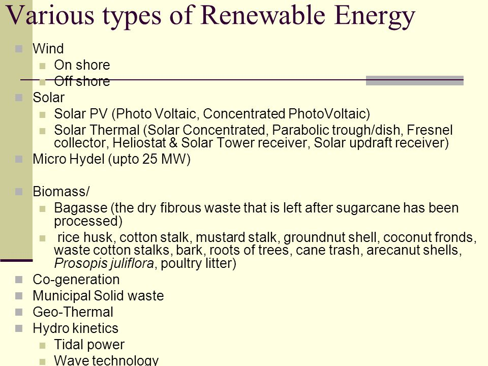 Various types of Renewable Energy