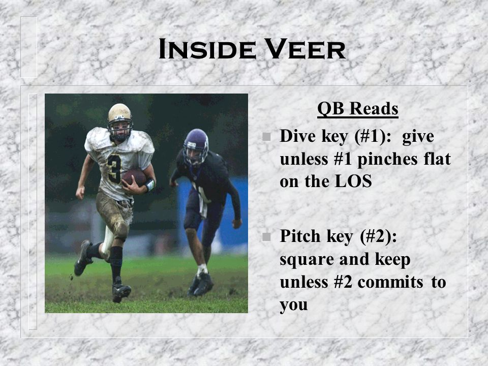 Inside Veer QB Reads. Dive key (#1): give unless #1 pinches flat on the LOS.