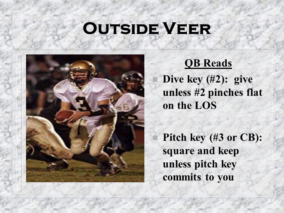 Outside Veer QB Reads. Dive key (#2): give unless #2 pinches flat on the LOS.