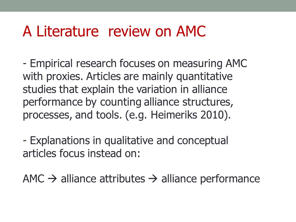 A Literature review on AMC