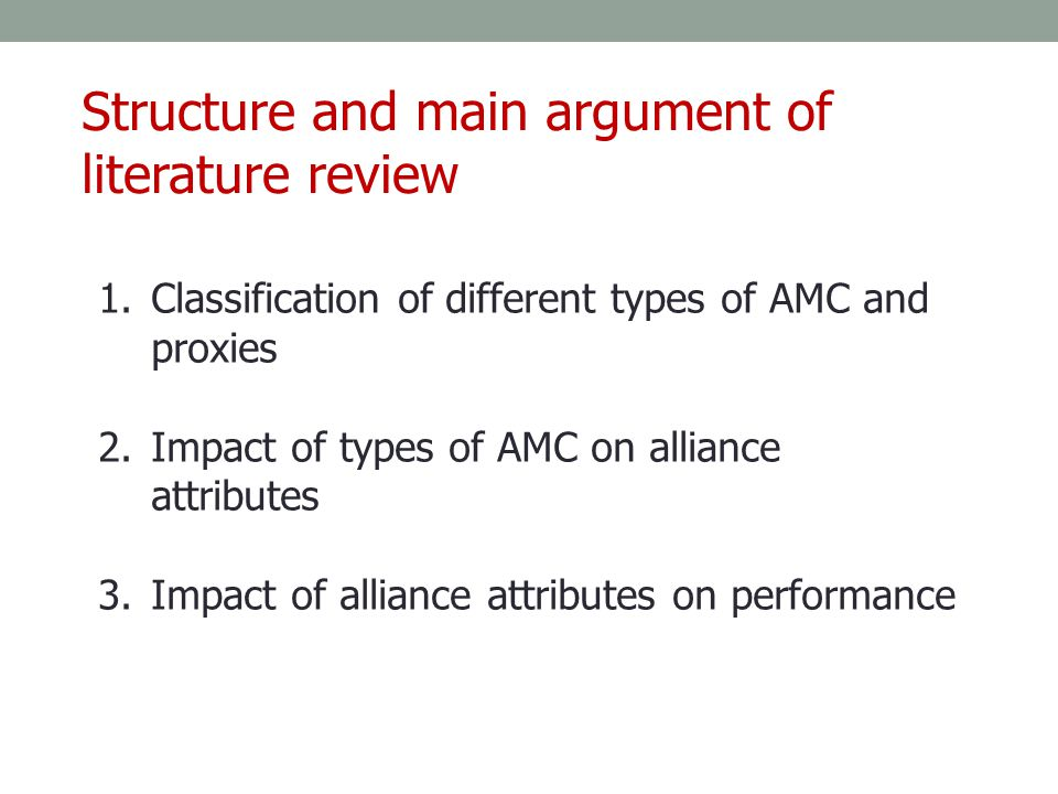 Structure and main argument of literature review