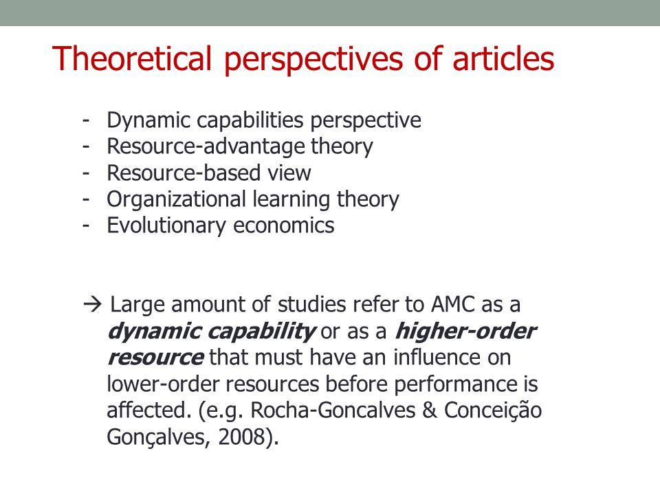 Theoretical perspectives of articles