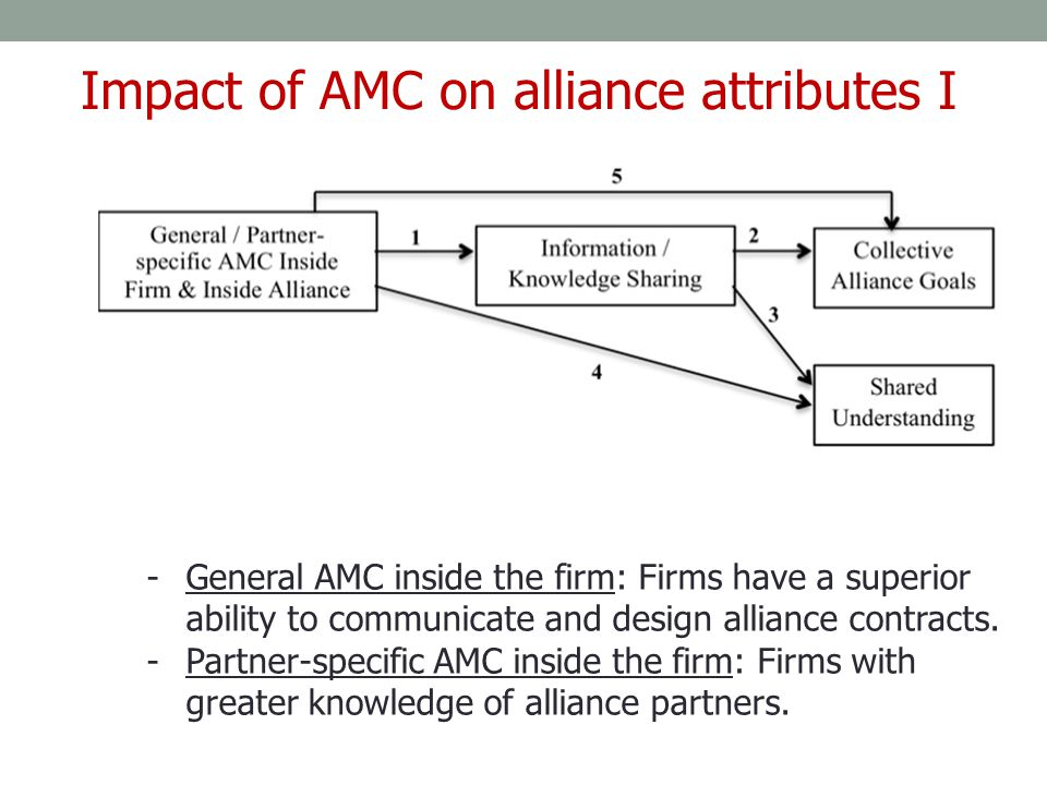 Impact of AMC on alliance attributes I